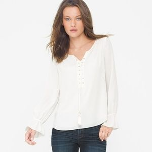 WHBM Long Sleeve White Lace Up Blouse Size 8